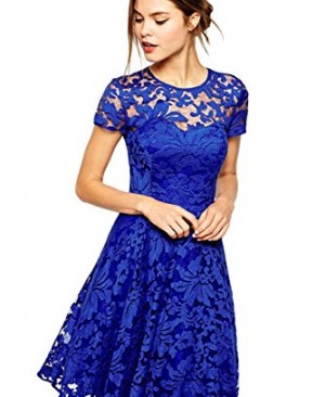 Amoluv-Women-Round-Neck-Short-Sleeve-Pleated-Lace-Slim-Dress-0