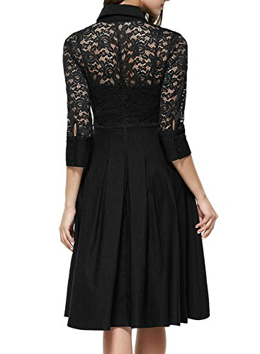 Missmay-Womens-Vintage-1950s-Style-34-Sleeve-Black-Lace-Flare-A-line-Dress-0-0