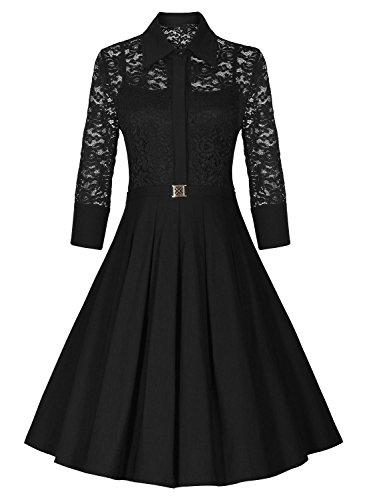 Missmay-Womens-Vintage-1950s-Style-34-Sleeve-Black-Lace-Flare-A-line-Dress-0-1
