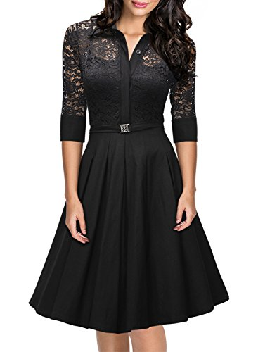 Missmay-Womens-Vintage-1950s-Style-34-Sleeve-Black-Lace-Flare-A-line-Dress-0