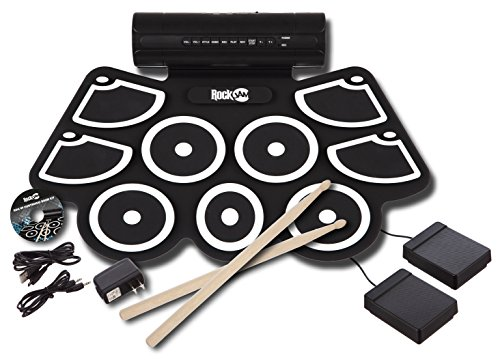 RockJam-Electronic-Roll-Up-MIDI-Drum-Kit-with-Built-in-Speakers-Foot-Pedals-Drumsticks-and-Power-Supply-0