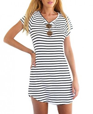 Tenworld-Women-Crew-Neck-Short-Sleeve-Striped-Loose-T-Shirt-Mini-DressS-XXXL-0